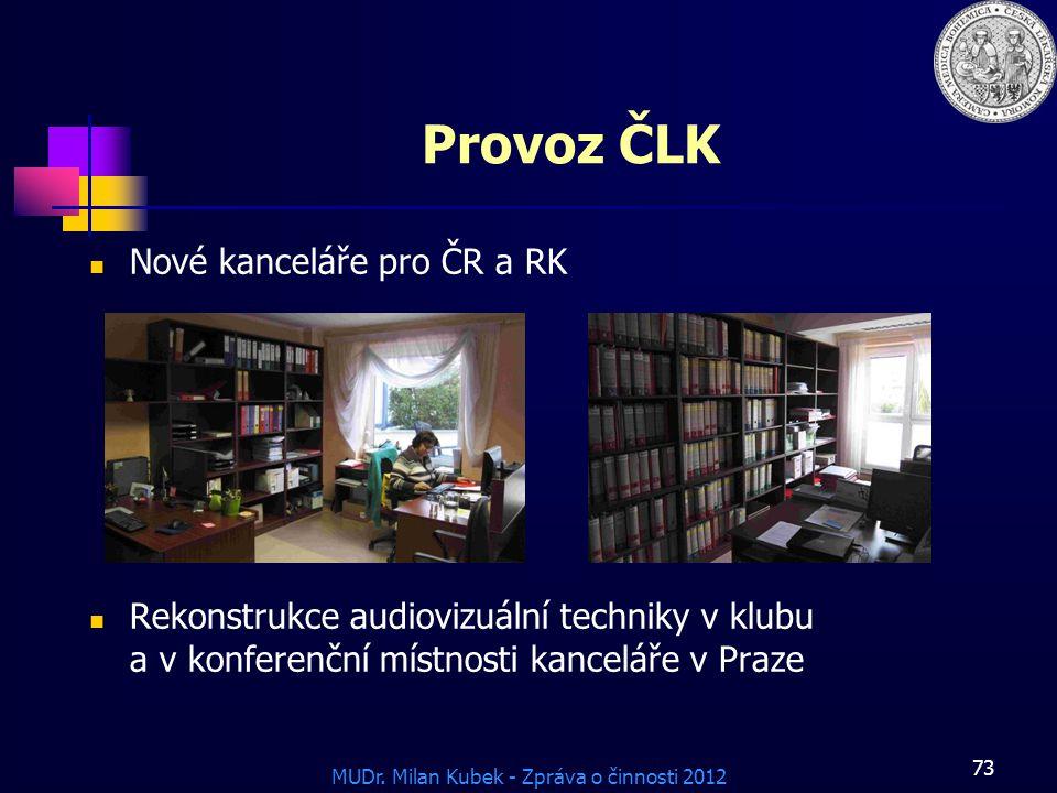 Provoz ČLK Nové kanceláře pro ČR a RK