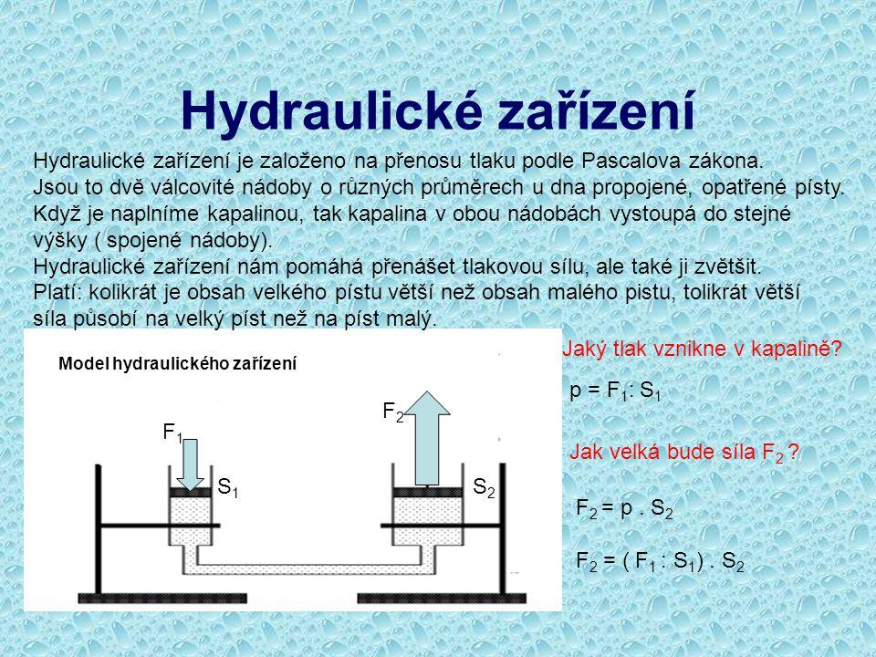 Hydraulické zařízení Hydraulické zařízení je založeno na přenosu tlaku podle Pascalova zákona.
