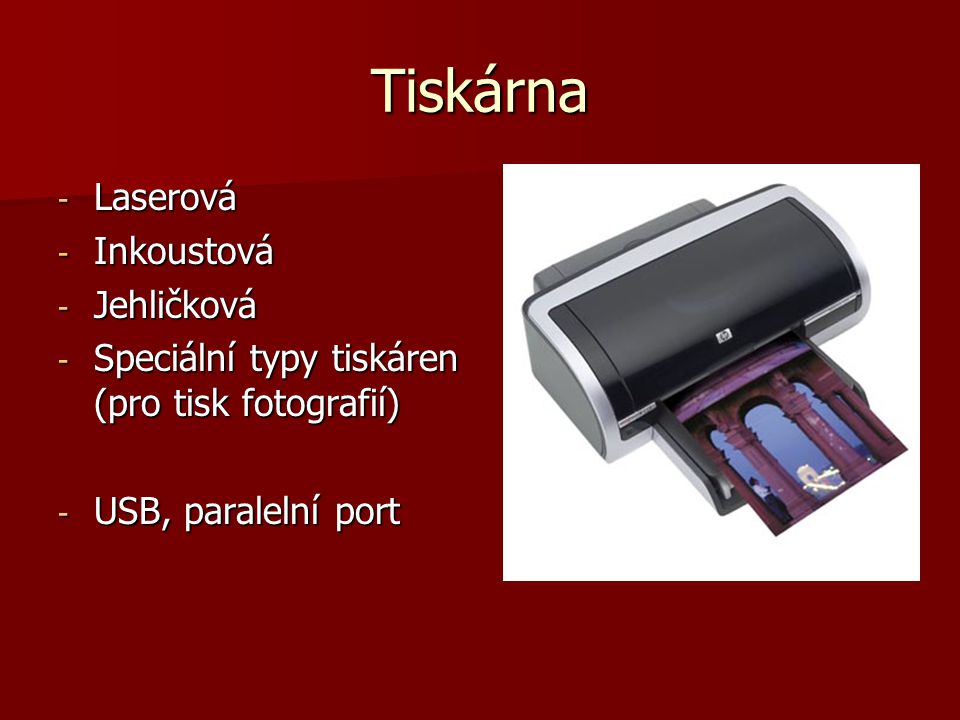 Tiskárna Laserová Inkoustová Jehličková