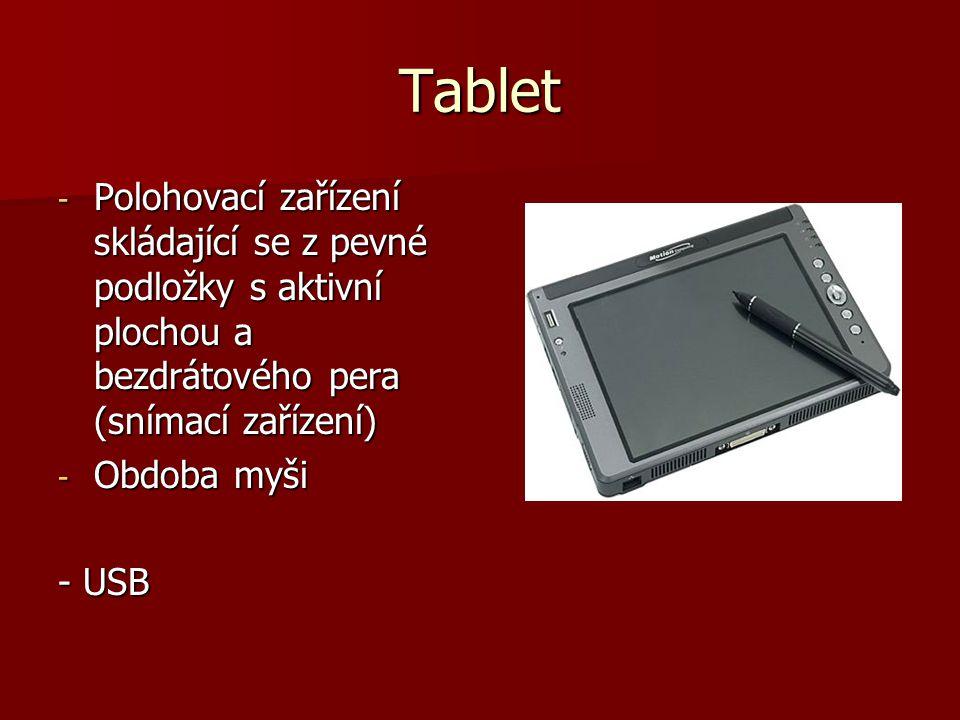 Tablet Polohovací zařízení skládající se z pevné podložky s aktivní plochou a bezdrátového pera (snímací zařízení)