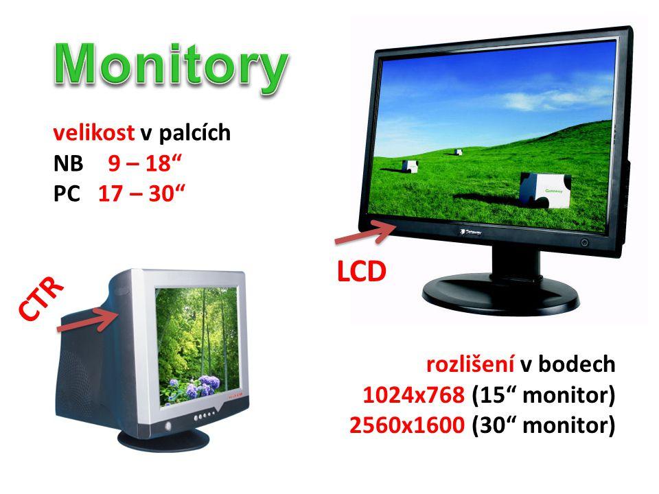 Monitory LCD CTR velikost v palcích NB 9 – 18 PC 17 – 30