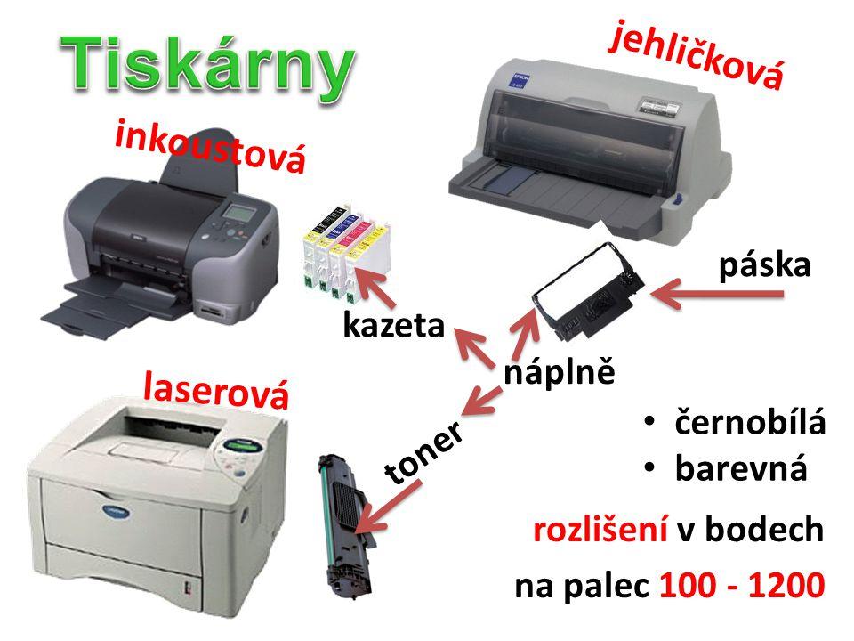 Tiskárny jehličková inkoustová laserová páska kazeta náplně černobílá