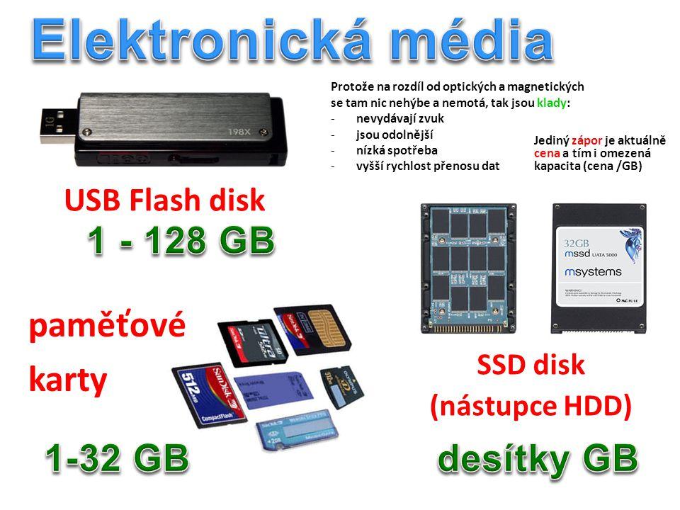 Elektronická média 1 - 128 GB paměťové karty 1-32 GB desítky GB
