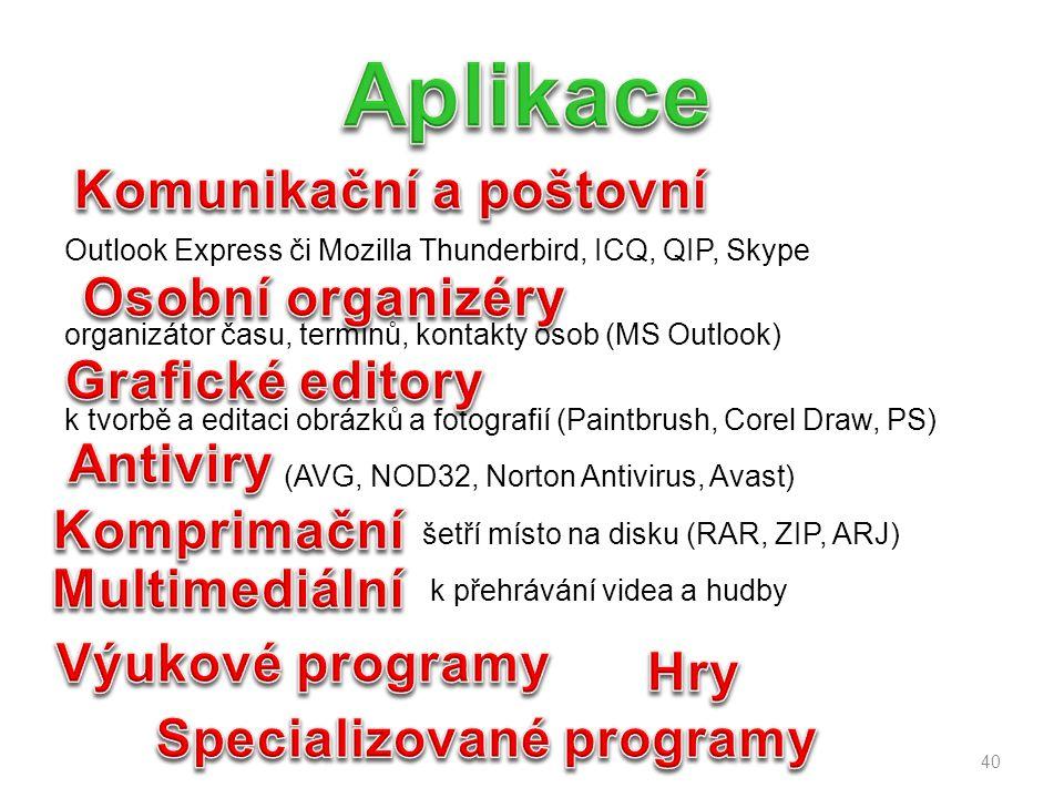 Komunikační a poštovní Specializované programy