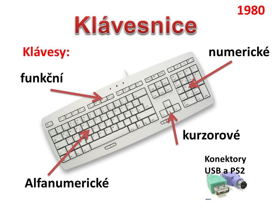Klávesnice 1980 Klávesy: numerické funkční kurzorové Alfanumerické