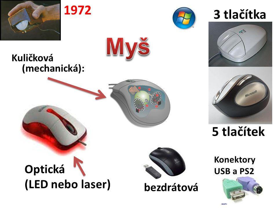 Myš 1972 3 tlačítka 5 tlačítek Optická (LED nebo laser) bezdrátová