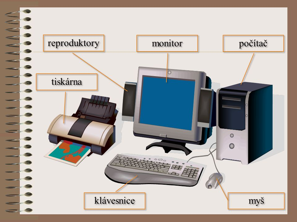 reproduktory monitor počítač tiskárna klávesnice myš