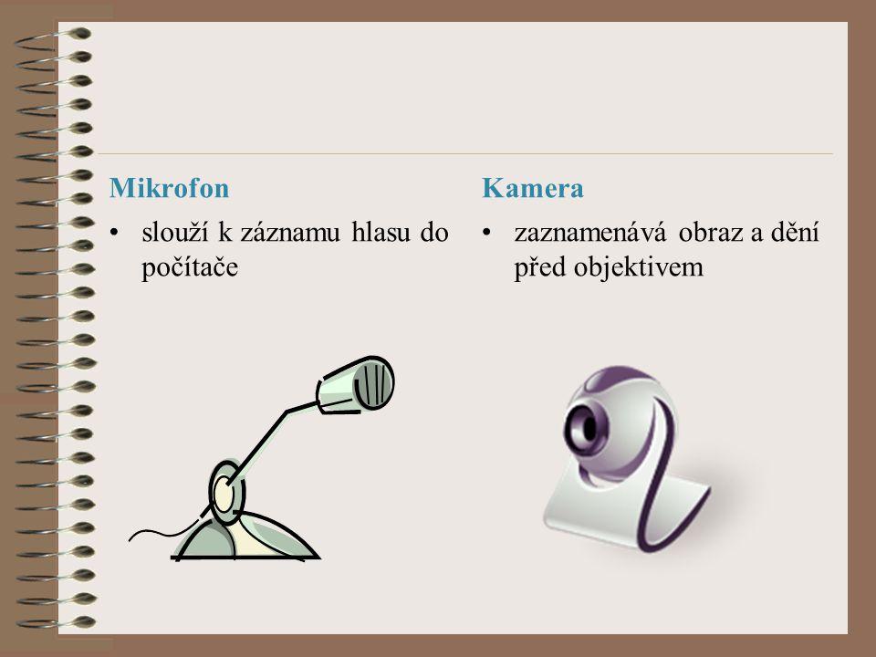 Mikrofon Kamera slouží k záznamu hlasu do počítače zaznamenává obraz a dění před objektivem