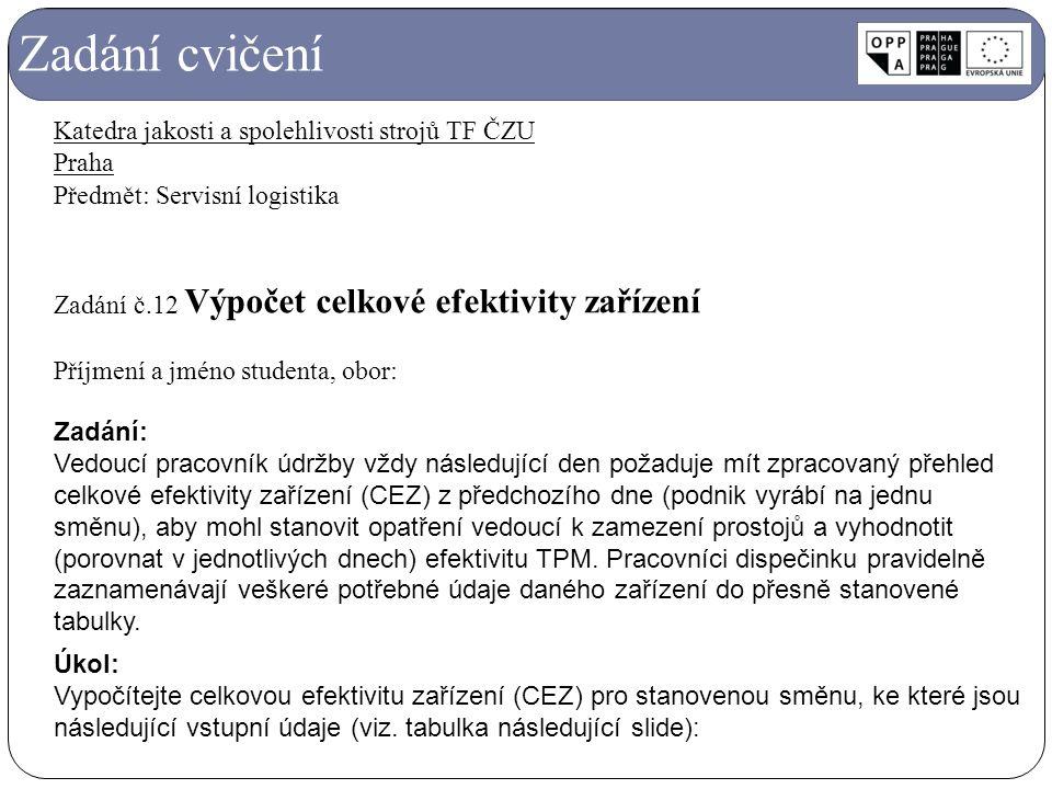 Zadání cvičení Katedra jakosti a spolehlivosti strojů TF ČZU Praha