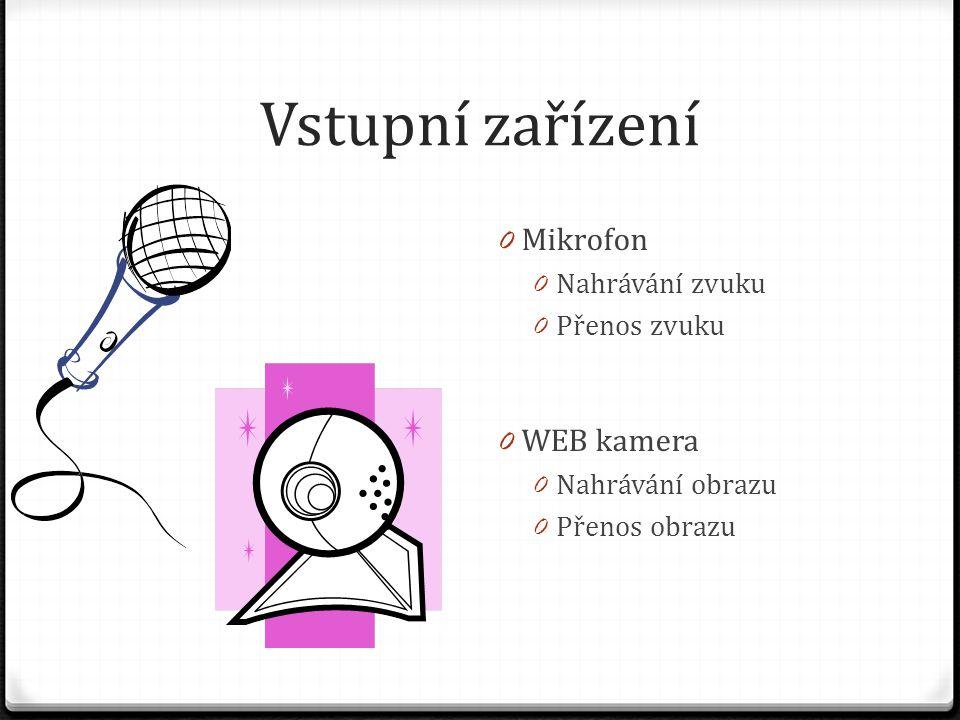 Vstupní zařízení Mikrofon WEB kamera Nahrávání zvuku Přenos zvuku