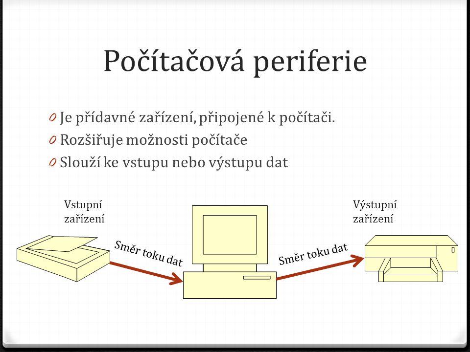 Počítačová periferie Je přídavné zařízení, připojené k počítači.