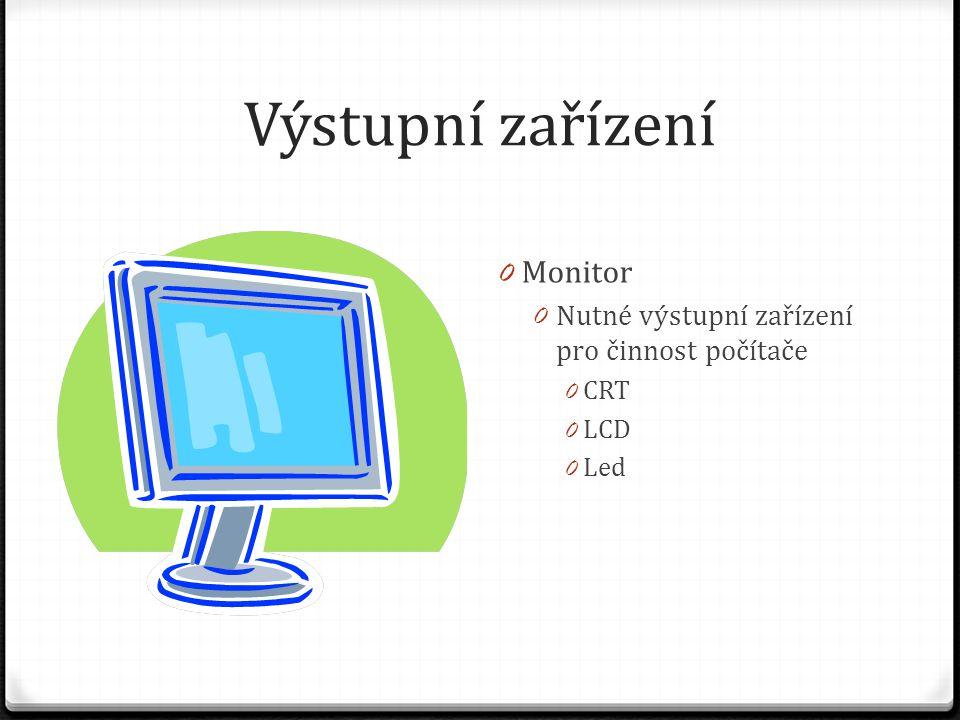 Výstupní zařízení Monitor Nutné výstupní zařízení pro činnost počítače