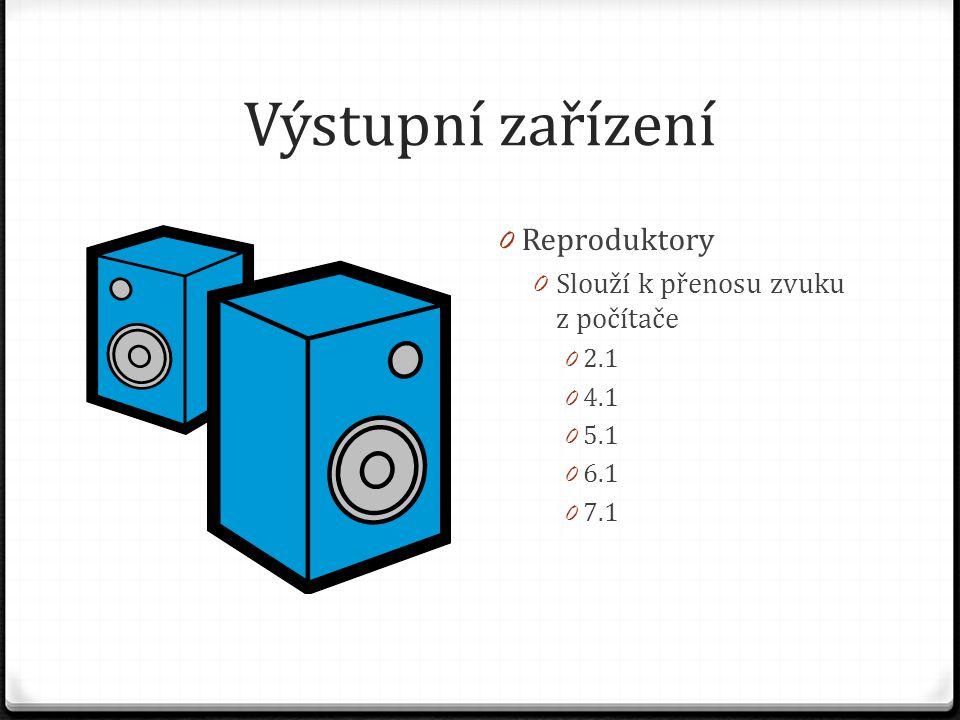 Výstupní zařízení Reproduktory Slouží k přenosu zvuku z počítače 2.1