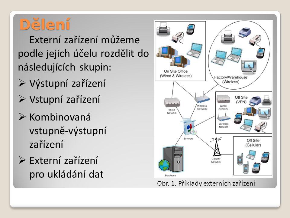 Dělení Externí zařízení můžeme podle jejich účelu rozdělit do následujících skupin: Výstupní zařízení.