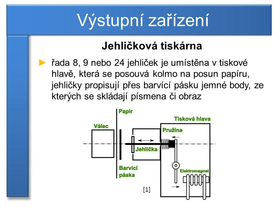 Výstupní zařízení Jehličková tiskárna