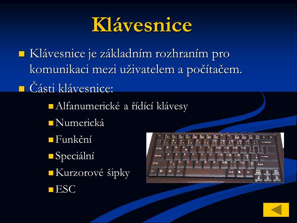 Klávesnice Klávesnice je základním rozhraním pro komunikaci mezi uživatelem a počítačem. Části klávesnice: