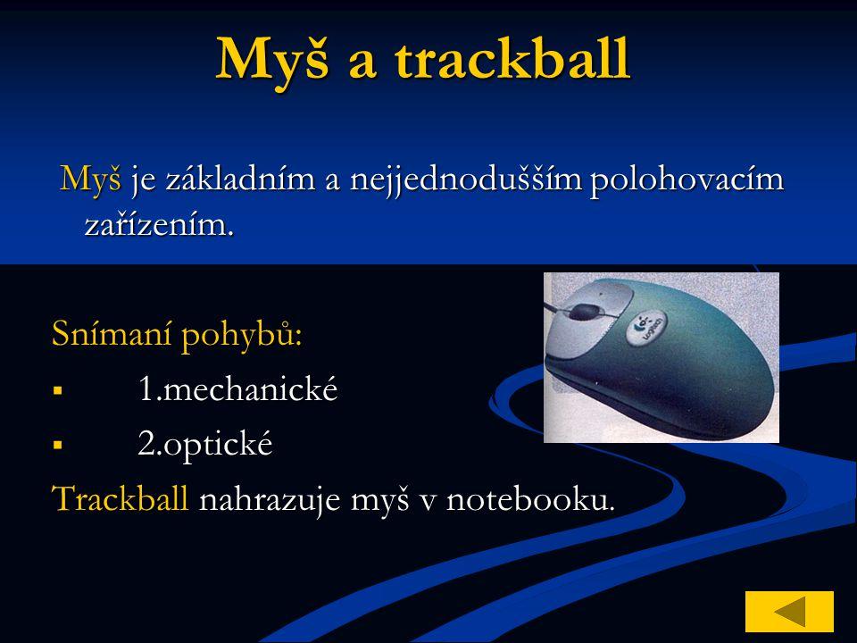 Myš a trackball Snímaní pohybů: 1.mechanické 2.optické