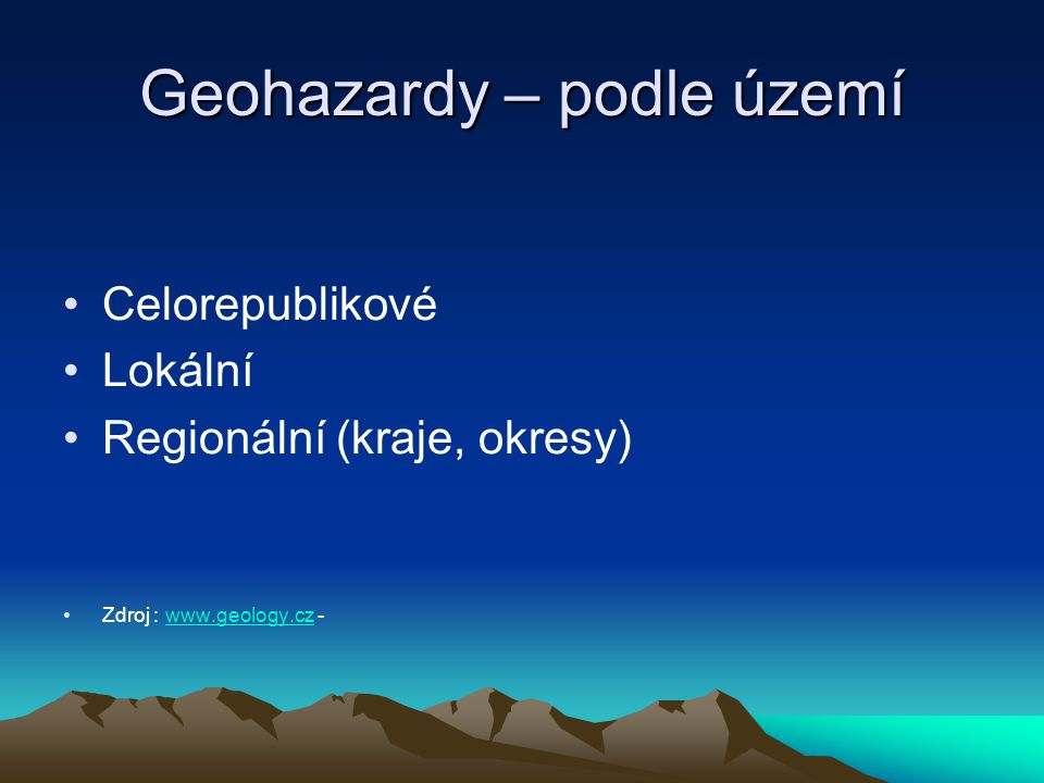 Geohazardy – podle území