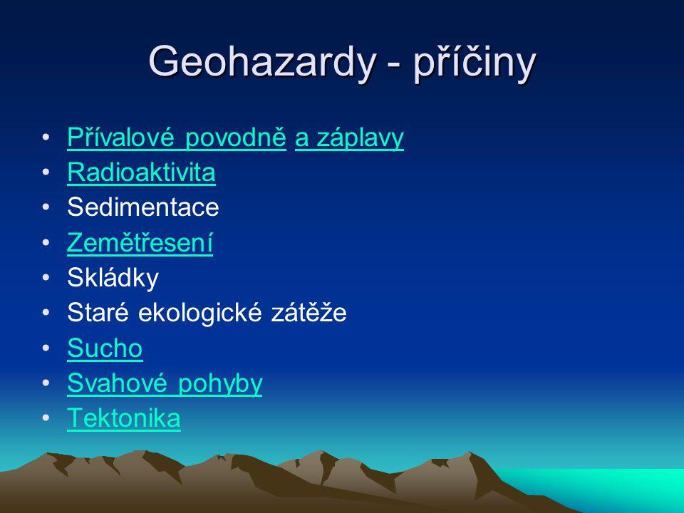 Geohazardy - příčiny Přívalové povodně a záplavy Radioaktivita
