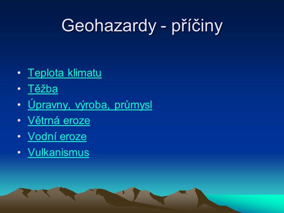 Geohazardy - příčiny Teplota klimatu Těžba Úpravny, výroba, průmysl