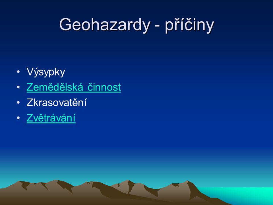 Geohazardy - příčiny Výsypky Zemědělská činnost Zkrasovatění
