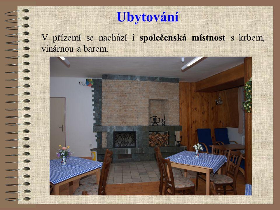 Ubytování V přízemí se nachází i společenská místnost s krbem, vinárnou a barem.