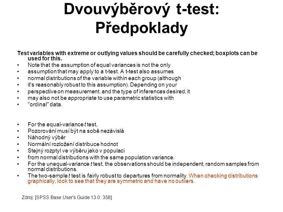 Dvouvýběrový t-test: Předpoklady