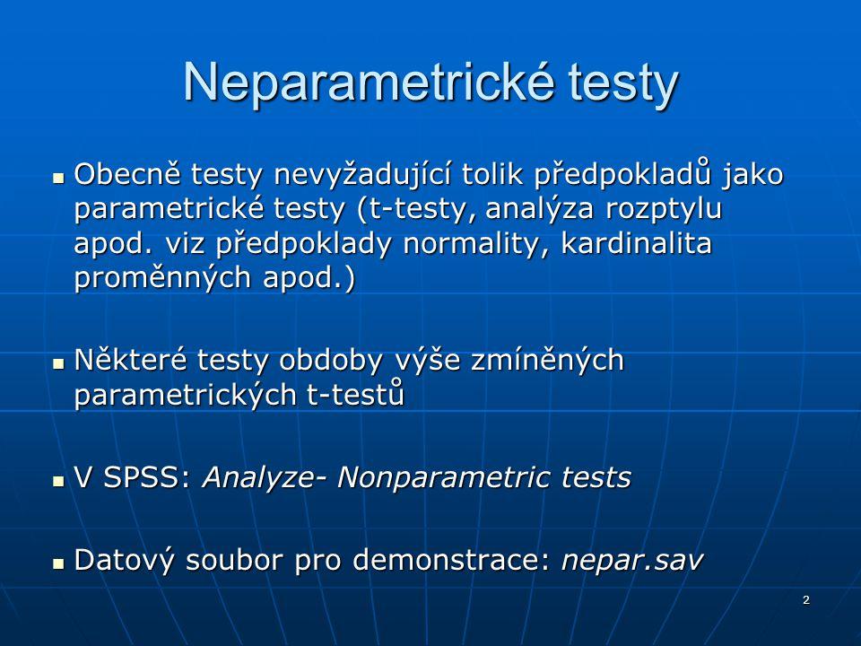 SPSS Inc. Neparametrické testy.