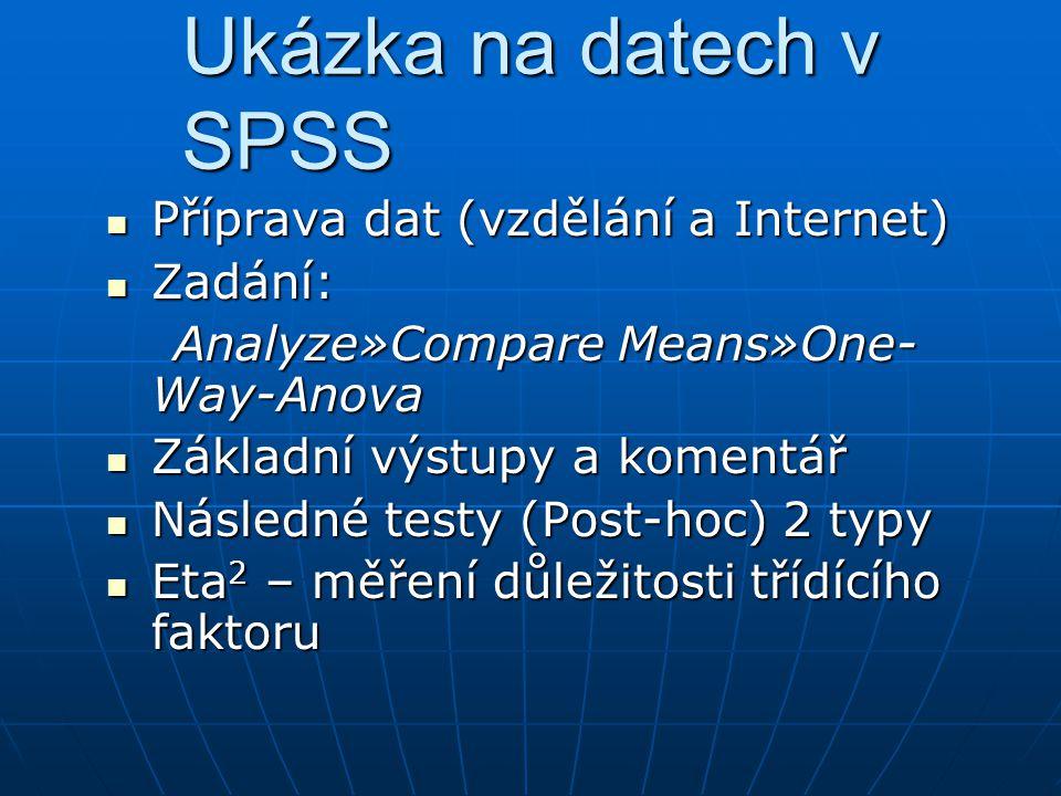 Ukázka na datech v SPSS Příprava dat (vzdělání a Internet) Zadání: