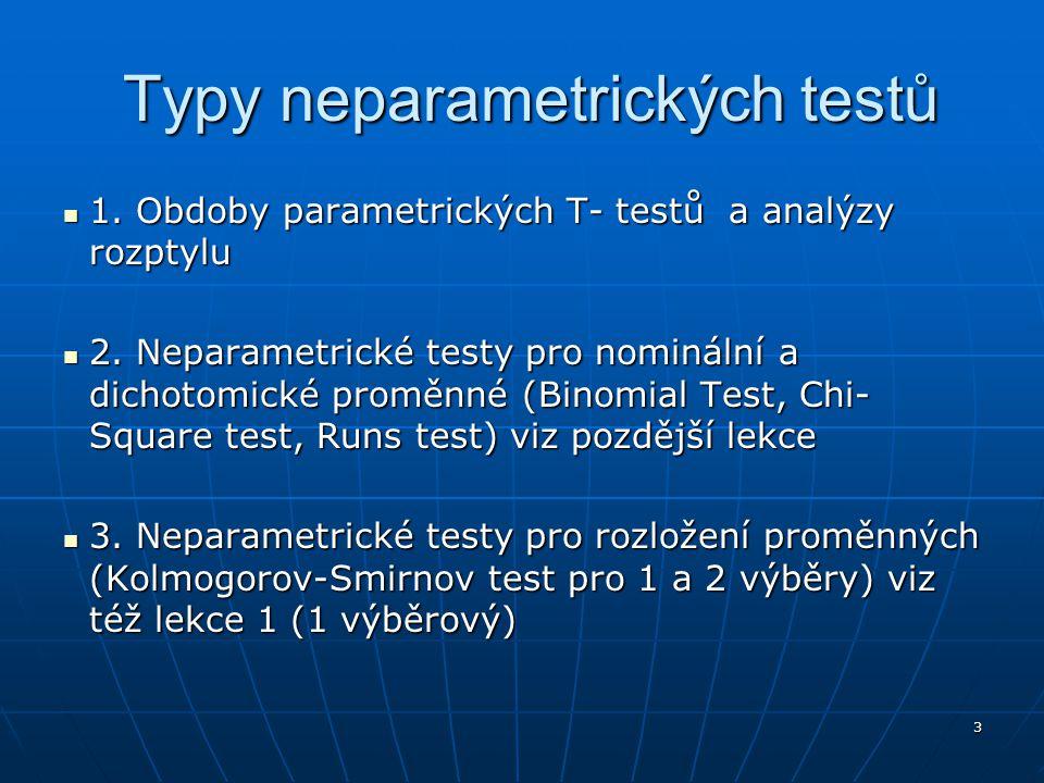 Typy neparametrických testů