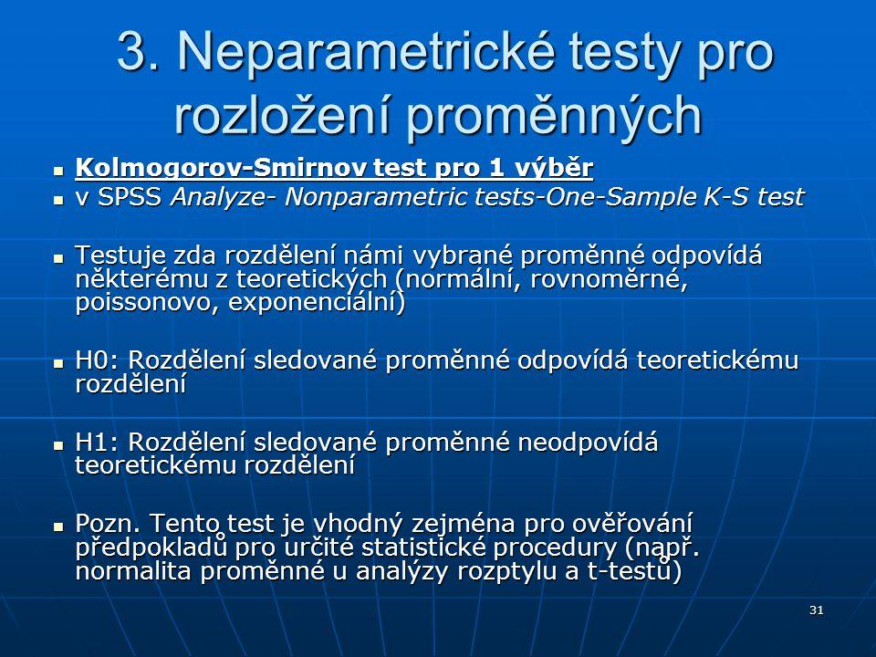 3. Neparametrické testy pro rozložení proměnných