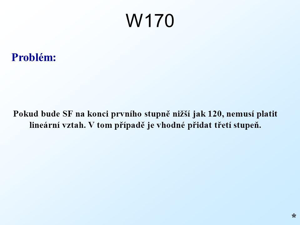 W170 Problém: Pokud bude SF na konci prvního stupně nižší jak 120, nemusí platit lineární vztah. V tom případě je vhodné přidat třetí stupeň.
