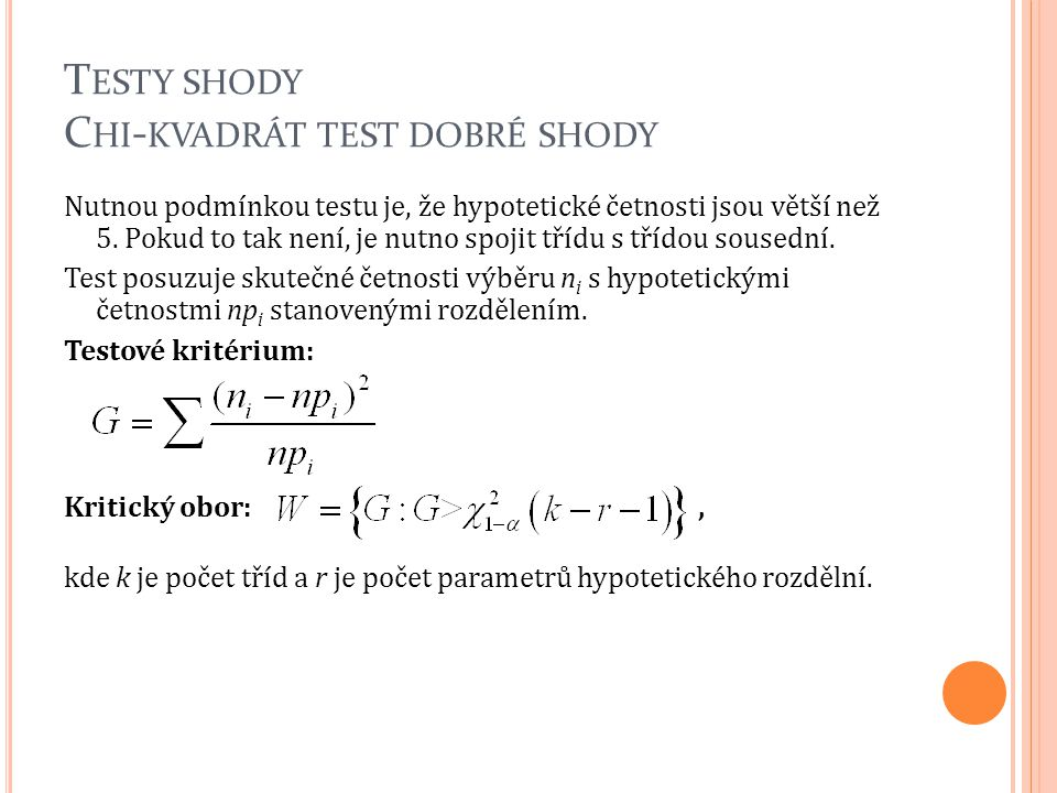 Testy shody Chi-kvadrát test dobré shody