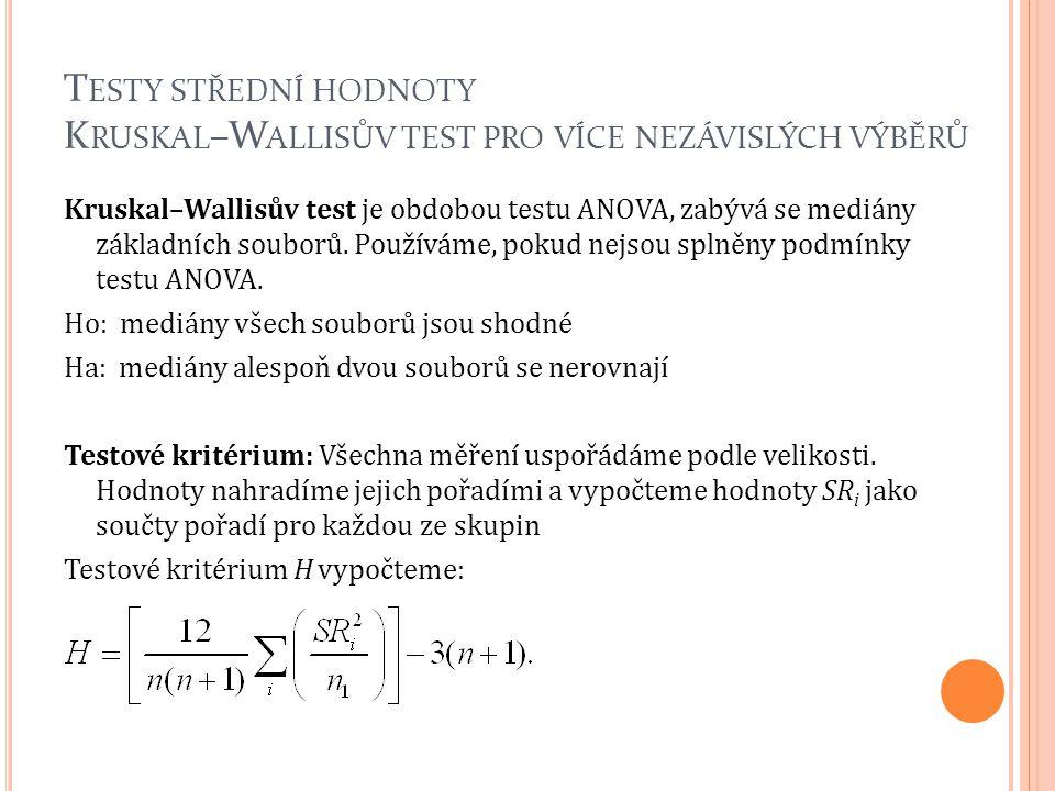 Testy střední hodnoty Kruskal–Wallisův test pro více nezávislých výběrů