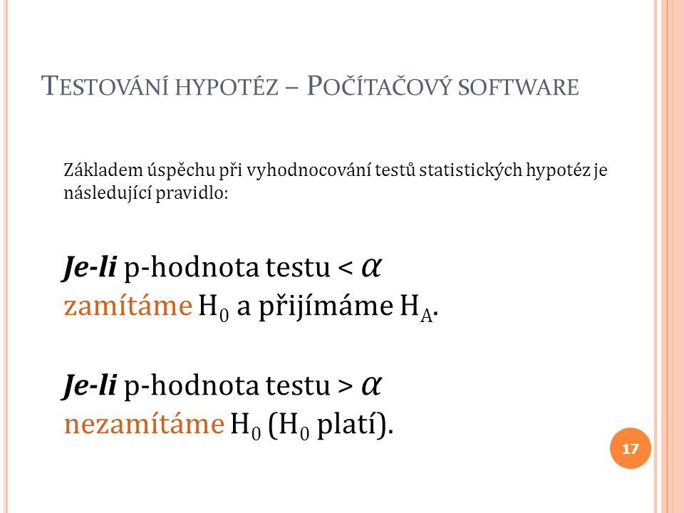 Testování hypotéz – Počítačový software