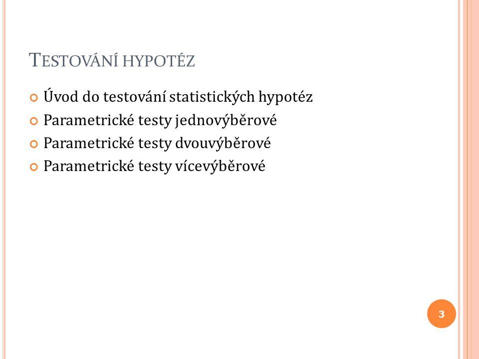 Testování hypotéz Úvod do testování statistických hypotéz