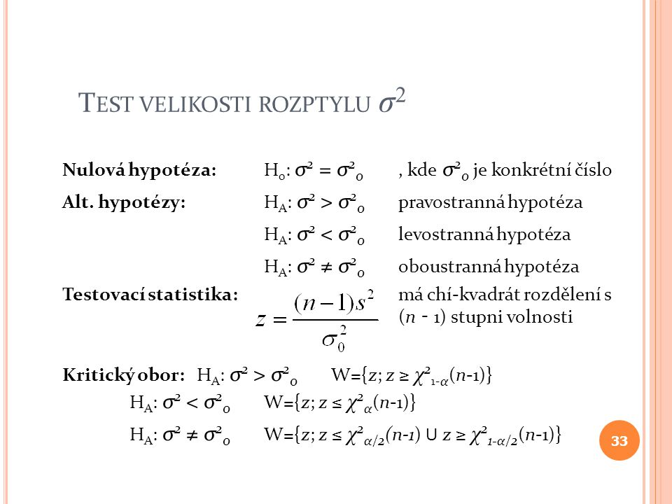 Test velikosti rozptylu σ2