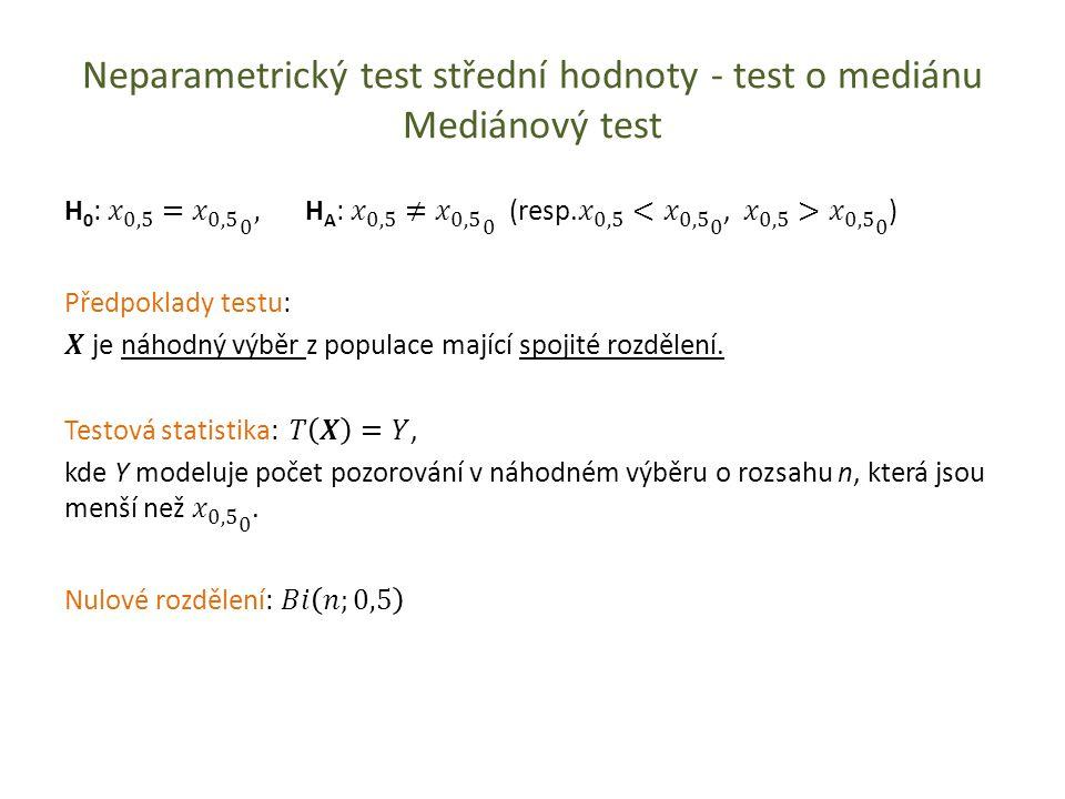 Neparametrický test střední hodnoty - test o mediánu Mediánový test