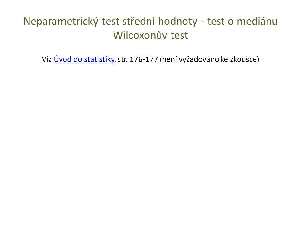 Neparametrický test střední hodnoty - test o mediánu Wilcoxonův test