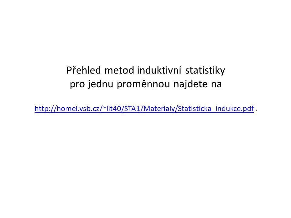 Přehled metod induktivní statistiky pro jednu proměnnou najdete na http://homel.vsb.cz/~lit40/STA1/Materialy/Statisticka_indukce.pdf .