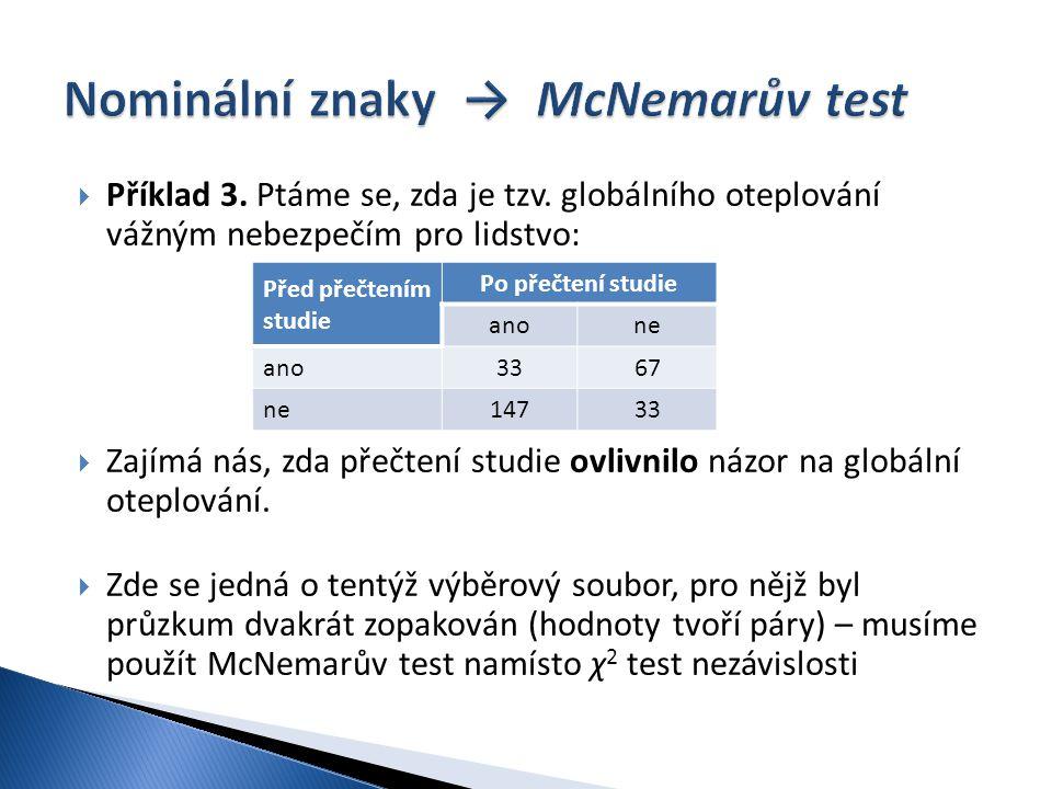 Nominální znaky → McNemarův test