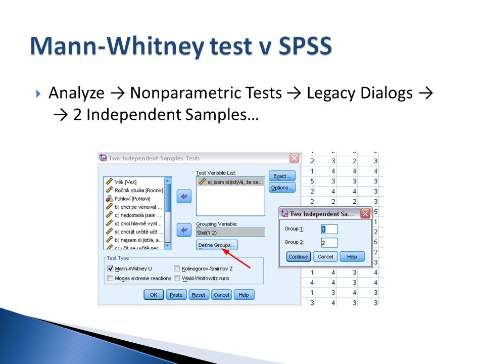 Mann-Whitney test v SPSS