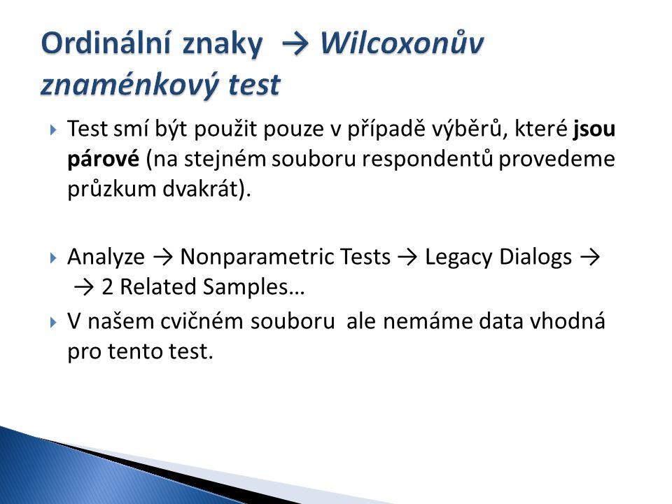 Ordinální znaky → Wilcoxonův znaménkový test