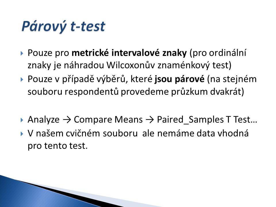 Párový t-test Pouze pro metrické intervalové znaky (pro ordinální znaky je náhradou Wilcoxonův znaménkový test)