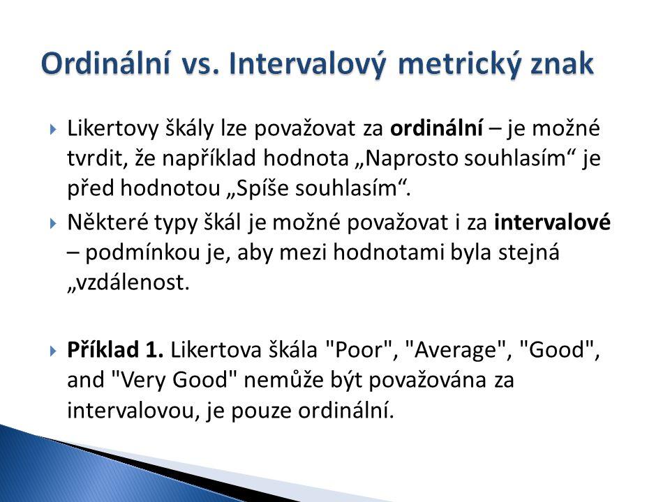 Ordinální vs. Intervalový metrický znak