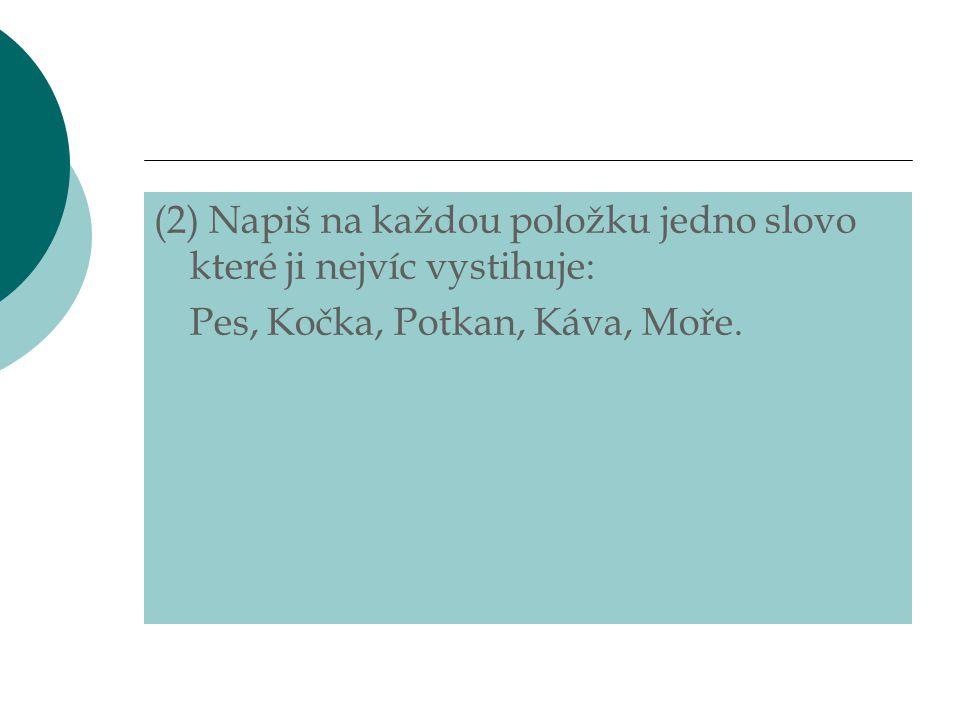 (2) Napiš na každou položku jedno slovo které ji nejvíc vystihuje: