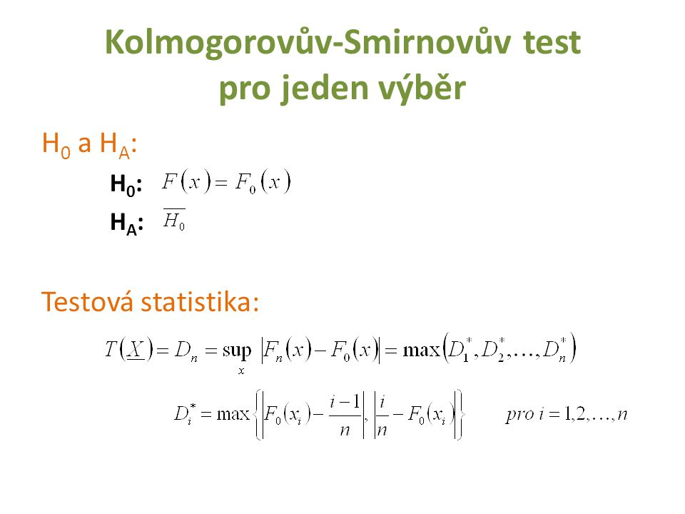 Kolmogorovův-Smirnovův test pro jeden výběr