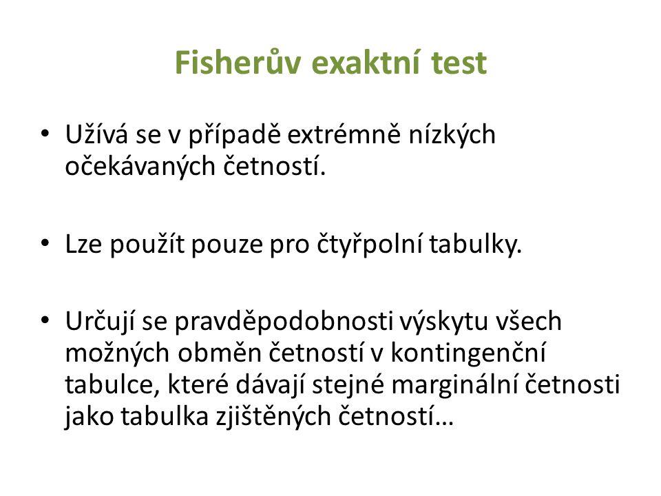 Fisherův exaktní test Užívá se v případě extrémně nízkých očekávaných četností. Lze použít pouze pro čtyřpolní tabulky.