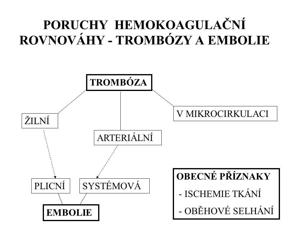 PORUCHY HEMOKOAGULAČNÍ ROVNOVÁHY - TROMBÓZY A EMBOLIE