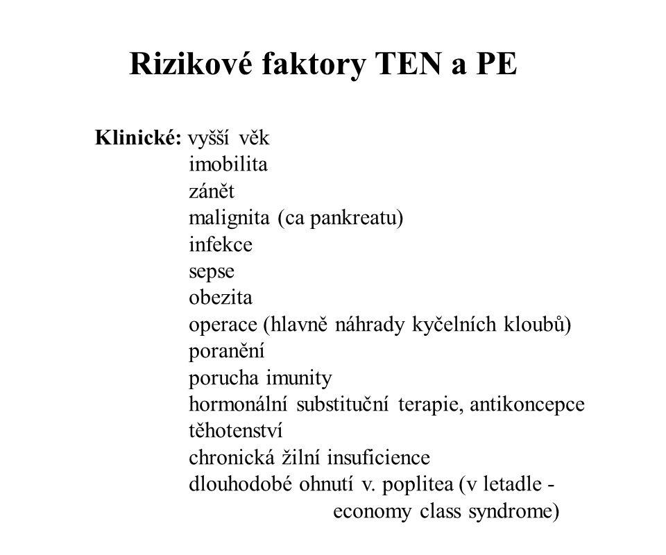 Rizikové faktory TEN a PE